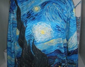 Gorgeous Starry Starry Night Shirt ~ Art Shirt ~ Vincent Van Gogh ~ Arsty BOHO Shirt
