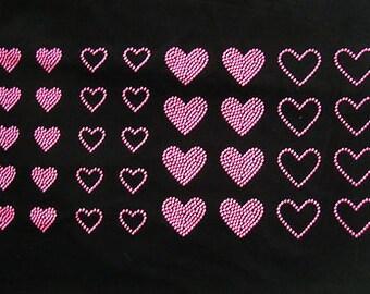 Ensemble de 28 néon rose coeurs strass goujons coeurs fer sur transfert - acheter 2, GET 1 FREE