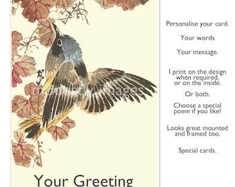 Humming bird Birthday card, handmade greetings  card, blank bird card, greetings art card, illustrated card, personalised anniversary card,