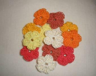 Applique mini crochet flowers