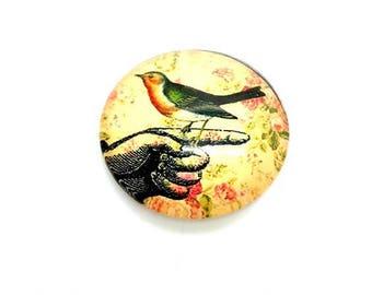 2 cabochons 25mm bird sepia tone (cab151) glass dome