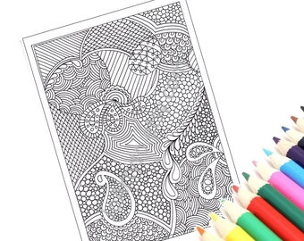 Zentangle Inspired Printable Coloring Page, Instant Download, Paisley Zendoodle Pattern, Page 46