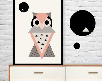 GEOMETRIC OWL wall art print