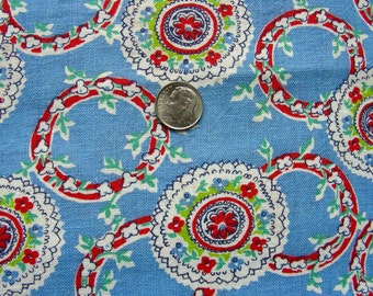 Vintage FEEDSACK Flour Sack Cotton Quilting  Fabric  // Beautiful Blue Background with Wreaths of Tiny Flowers  //   37 x 42