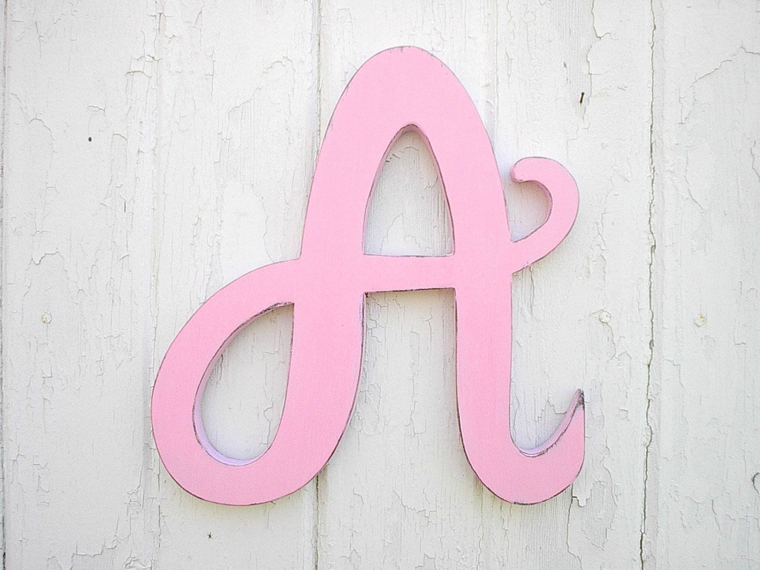 Wooden Letters A 12 Light Pink Feminine font Baby Girl
