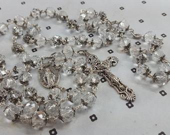 Handmade Clear Glass Catholic Rosary