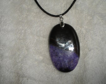 Purple and Black Druzy Agate Necklace