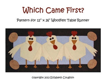 PDF pattern for a 12 x 26 inch WoolFelt table runner: Which Came First?