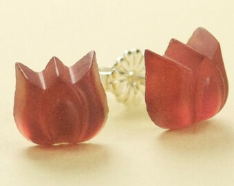 Small Vintage Frosted Pink Glass Tulip Button Post Earrings