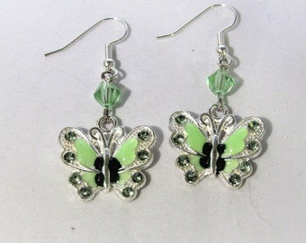 Green and Silver Butterfly Earrings