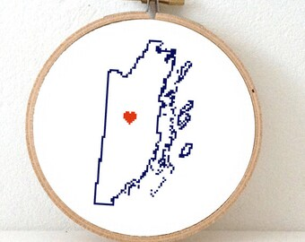 Belize Map Cross Stitch Pattern. Destination wedding gift. Belize wedding gift with Belmopan. Belize ornament pattern.
