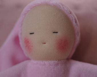 First Waldorf doll, birthgift, waldorf toys, cuddle doll -Light Pink-