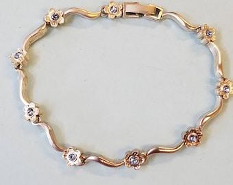 Vintage Zik Zok pewter Bracelet, Zik Zok, Zik Zok bracelet, pewter bracelet, bracelet, rhinestone bracelet