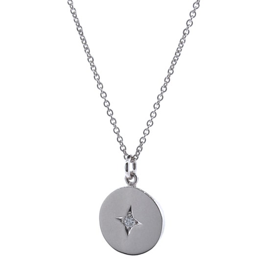 Argenton Design White Gold Diamond Medium Moon And Star Necklace - 16.5 Inches 1Js8v0t