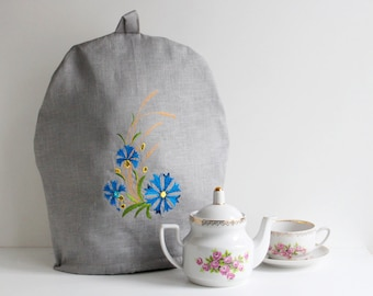 Linen Coffee Pot Cozy with Cornflower, Embroidered, Pure Linen Teapot Warmer, Handmade, Large Size, Gray Linen, Eco Friendly Gift