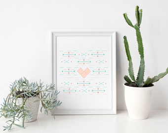 Valentine's Art Print Southwest Heart Instant Download Art Print Quote Printable Arrow Pattern Art Print