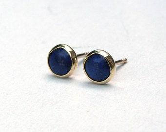 Gold Stud Earring- Stud Earrings- Lapis lazuli Earrings- Silver Stud Earrings- Lapis lazuli Studs- Stone Stud, 4mm stone earrings