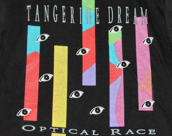 M * thin vtg 80s 1988 Tangerine Dream tour t shirt * optical race Atari * 33.155