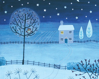 Print of winter scene at night with snow, cottage and stars from an original mixed media painting 'Silent Night' by Jo Grundy