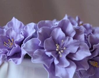 weddinglight purple  flowers for the bride hairstyles, flower girls , bridesmaid. Hair bobby pin flowers. light purple  azalea. Set of 5.
