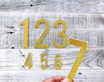 """Numbers Iron On Patch 4"""" 100% Embroidered Metallic Gold Modern Applique 4"""" tall by approx 2"""" wide for personalizing projects"""
