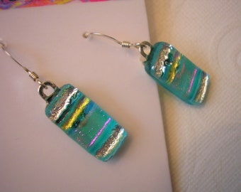 Aqua Silver Earrings, Dichroic Fused Glass, .925 Sterling Earwires, Gift For Her, Home Crafted Jewelry, Blue Dangle Earrings, Color Shifting