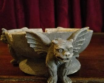 Vintage 90's Gargoyle Ashtray, dated 1995, Heavy and Solid
