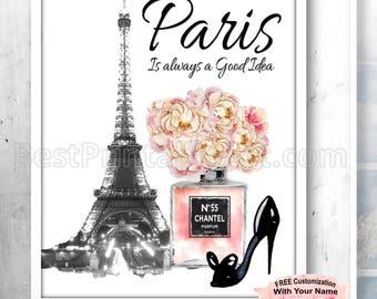 Paris is always a good idea Wall Art, Paris Bedroom Print  Paris Art Paris Fashion Illustration Fashion Download Parisian Decor Parisian Art