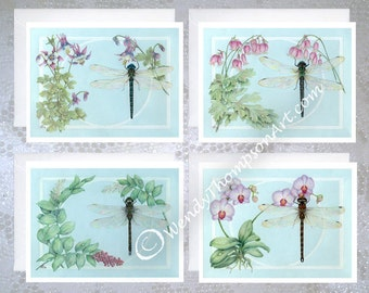 Dragonfly Botanical note cards - Set of 4 Original design: orchid, solomon seal, columbine, wild bleeding heart dicentra, libellula