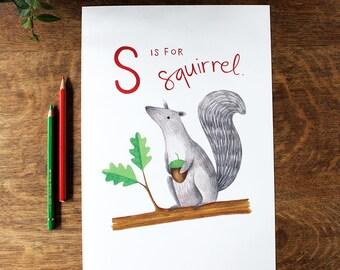 Squirrel Alphabet Print - Artist's Print of Original Painting, A4 - Nursery/Children's Wall Art