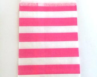 paper bags - treat bag - wedding favor bags - flat paper bag - gift bags - kraft paper bags - wide stripes bags - set of 12 bags - pink