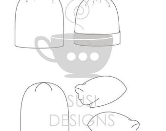 Technical Flat Sketches for Fashion Design - Knit Hats - Toques, Beanies - Illustrator Editable PDF