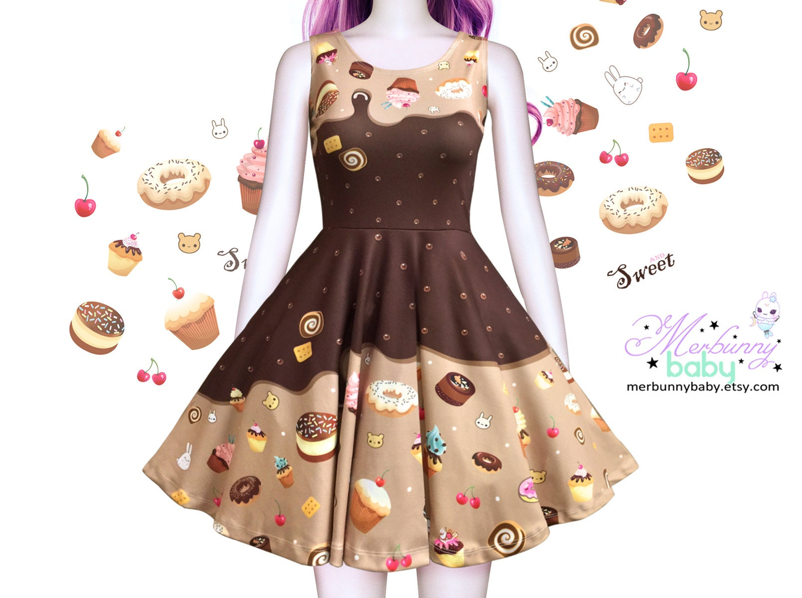 Kawaii chocolate cute skater dress melty chocolate skater