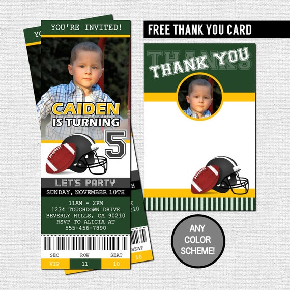 Football ticket invitations birthday party thank you card filmwisefo