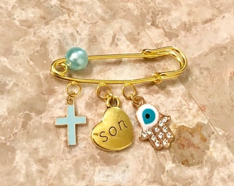 Baby boy stroller protection pin with cross hamsa or evil eye