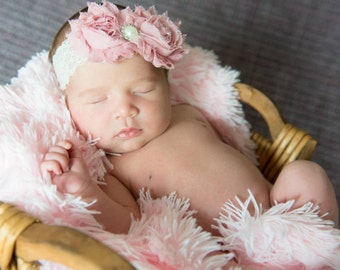 Dusty Rose Baptism Headband Pale Pink  for Girls Baby Teens Flower Girl Baptism headband Christening Headband