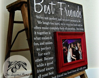 Best Friend Gift, Sister Gift, Bridesmaid Gift, Girlfriends, Maid of Honor Gift, Picture Frame, Personalized Bridesmaid Gift, Wedding, 16x16