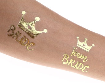 12 Pack of Gold DIY Temporary Team Bride With Crown and Bride With Crown Tattoo Design Adult Tattoo Hen Party Bridal Shower