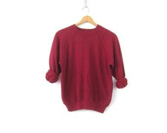 Purple Berry Raglan sweatshirt 1980s THIN slouchy sweater Basic Casual Sweater Plain shirt ATHLETICS Sports Sporty Top Women's Medium Large