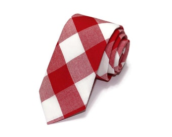 Red Buffalo Plaid Necktie~Anniversary Gift~Wedding Tie~Boys Necktie~Mens Necktie~Wedding~Mens Tie~Boys Tie~Mens Gift~Red Gingham