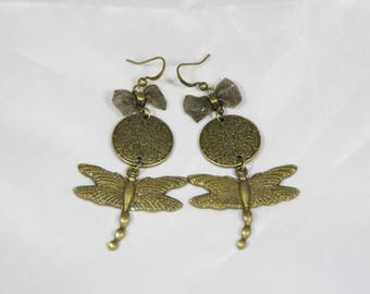 Beautiful bow 65 mm Dragonfly earring
