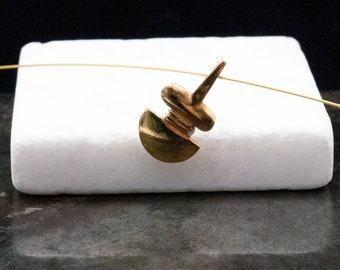 Greek Golden Necklace, Abstract Small Cycladic Figurine Pendant, Men/Women Necklace, Greek Art Sculpture, Museum Replica, Wearable Art