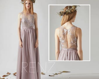 Bridesmaid Dress Rose Gray Chiffon Dress Wedding Dress,Illusion Boat Neck Maxi Dress,Lace Back Party Dress,Sleeveless Evening Dress(T194)
