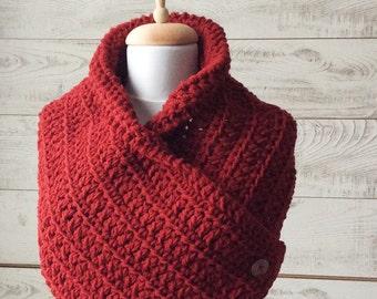 Boston cowl, knit cowl, button scarf, chunky knit cowl, cowl scarf, knit cowl / Many Colors