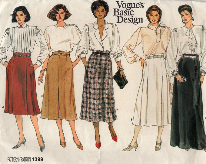 FREE US SHIP Vogue 1399 Vintage Retro 1980s 80s High Waist Belt Loop Skirt Sewing Pattern Size 10  Waist 25 Uncut ff Large Envelope Basic