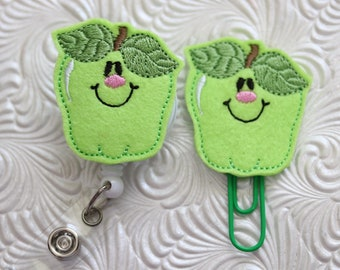 Green apple badge reel - planner clip - badge holder - definitely you - name badge holder - paper clip - badge pull - badge clip - ID holder