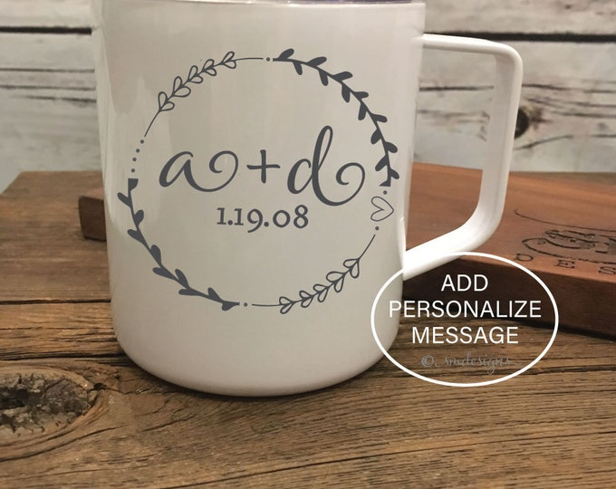 Personalized Initials Date Coffee Mug Spouse Gift Idea Anniversary Gift Wife Gift Coffee Cup Double Insulation Gift For Her