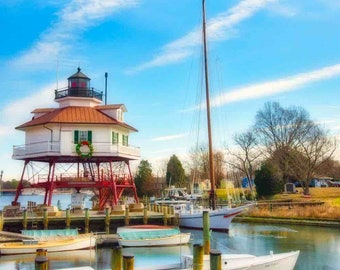 Drum Point Lighthouse at Christmas in Solomons, Maryland