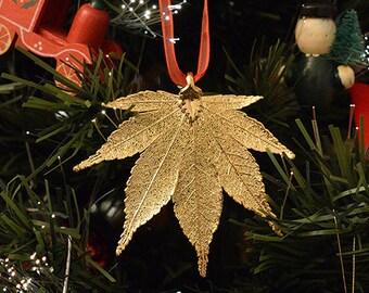 Real Leaf Ornaments, 24k Gold Plated Real Japanese Maple Leaf, Christmas Gift , Natural Leaf, Gold Dipped Japanese Maple Leaf, Edel-Heid
