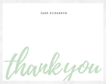 Thank You Personalized Notecard Set - Coral, Blue, Green, Purple, and Yellow - Just Because Stationery - Thank You Stationary - Stationery